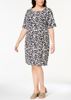 Karen Scott Plus Size Printed Shift Dress, Created for Macy's