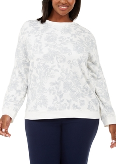 Karen Scott Plus Size Printed Sweatshirt, Created For Macy's