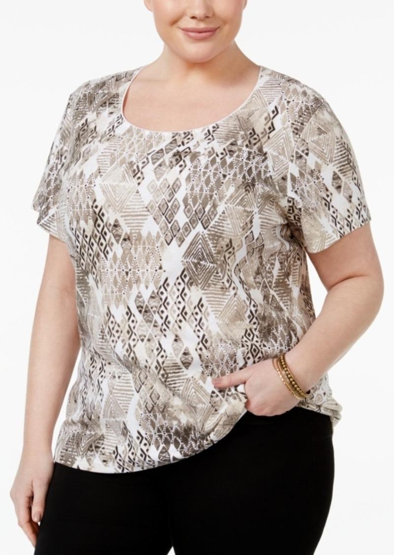 29c027813c9f6 Karen Scott Karen Scott Plus Size Printed T-Shirt