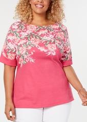 Karen Scott Plus Size Printed Top, Created for Macy's