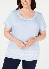 Karen Scott Plus Size Puff Striped Top, Created for Macy's