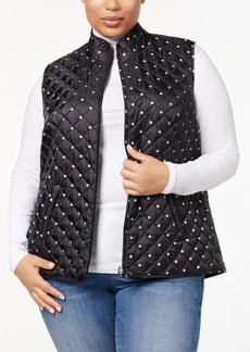 Karen Scott Plus Size Quilted Printed Puffer Vest, Created for Macy's