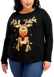 Karen Scott Plus Size Sequin-Embellished Reindeer Sweater, Created for Macy's