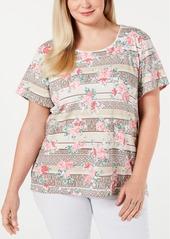 Karen Scott Plus Size Short-Sleeve Printed T-Shirt, Created for Macy's