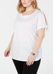 Karen Scott Plus Size Slit-Sleeve T-Shirt, Created for Macy's