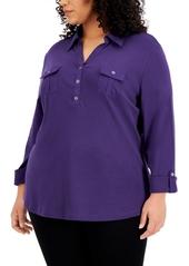 Karen Scott Plus Size Solid V-Neck Woven Top, Created for Macy's