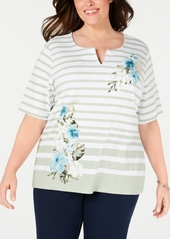 Karen Scott Plus Size Split-Neck Mixed-Print Top, Created for Macy's