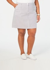Karen Scott Plus Size Striped Mini Skort, Created for Macy's