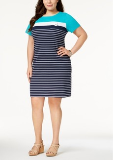Karen Scott Plus Size Striped Shift Dress, Created for Macy's