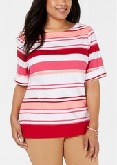 Karen Scott Plus Size Striped T-Shirt, Created for Macy's