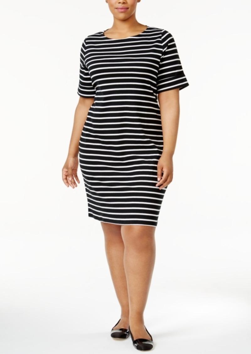 0cdabae6 Karen Scott Karen Scott Plus Size Striped T-Shirt Dress, Only at ...