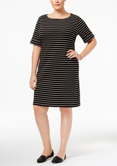 Karen Scott Plus Size Striped T-Shirt Dress, Only at Macy's