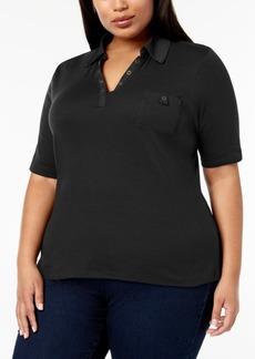 Karen Scott Plus Size Studded Polo Shirt, Created for Macy's