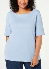 Karen Scott Plus Size Studded Top, Created for Macy's