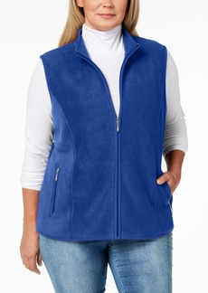 Karen Scott Plus Size Zip-Front Fleece Vest, Created for Macy's