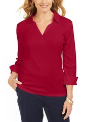 Karen Scott Petite Cotton V-Neck Polo Shirt, Created for Macy's