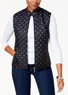 Karen Scott Petite Dot-Print Puffer Vest, Created for Macy's