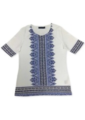 Karen Scott Printed Elbow-Sleeve T-Shirt, Created for Macy's