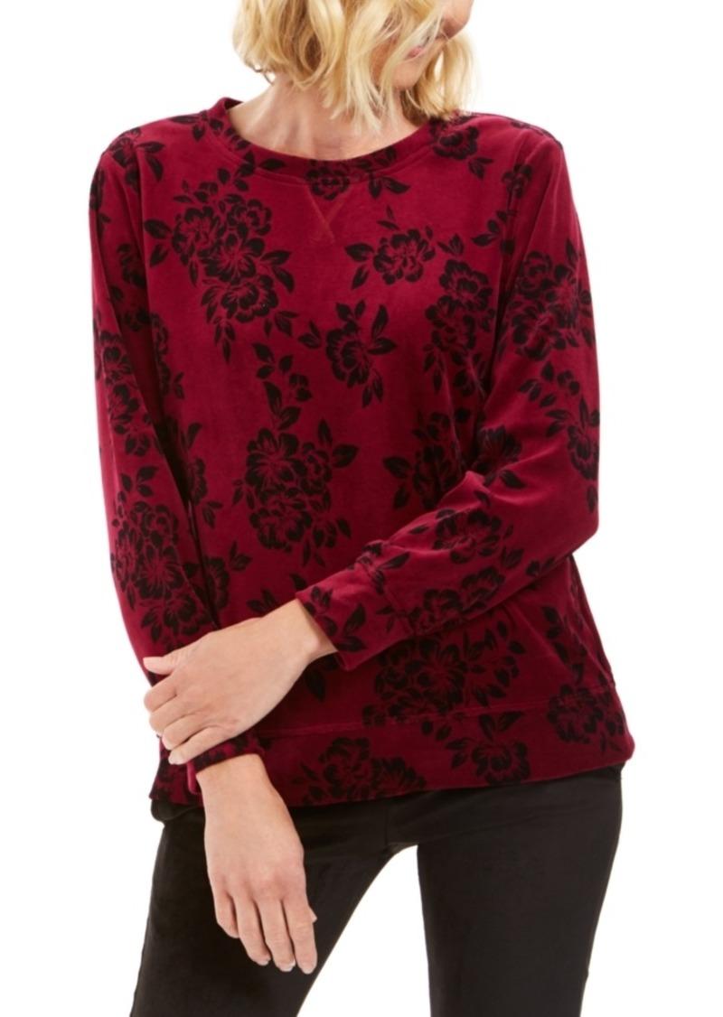 Karen Scott Sport Printed Flocked Sweatshirt, Created For Macy's