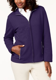 Karen Scott Quilted Fleece Zip Jacket, Created for Macy's