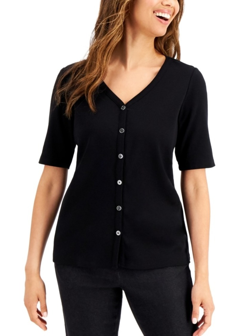 Karen Scott Ribbed Button Top, Created for Macy's