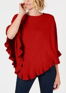 Karen Scott Luxsoft Ruffled-Hem Poncho Sweater, Created for Macy's