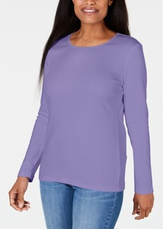 Karen Scott Satin-Trim Scoop-Neck Top, Created for Macy's