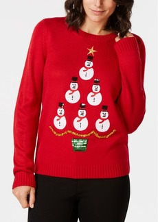 Karen Scott Sequined Holiday-Snowmen Sweater, Created for Macy's