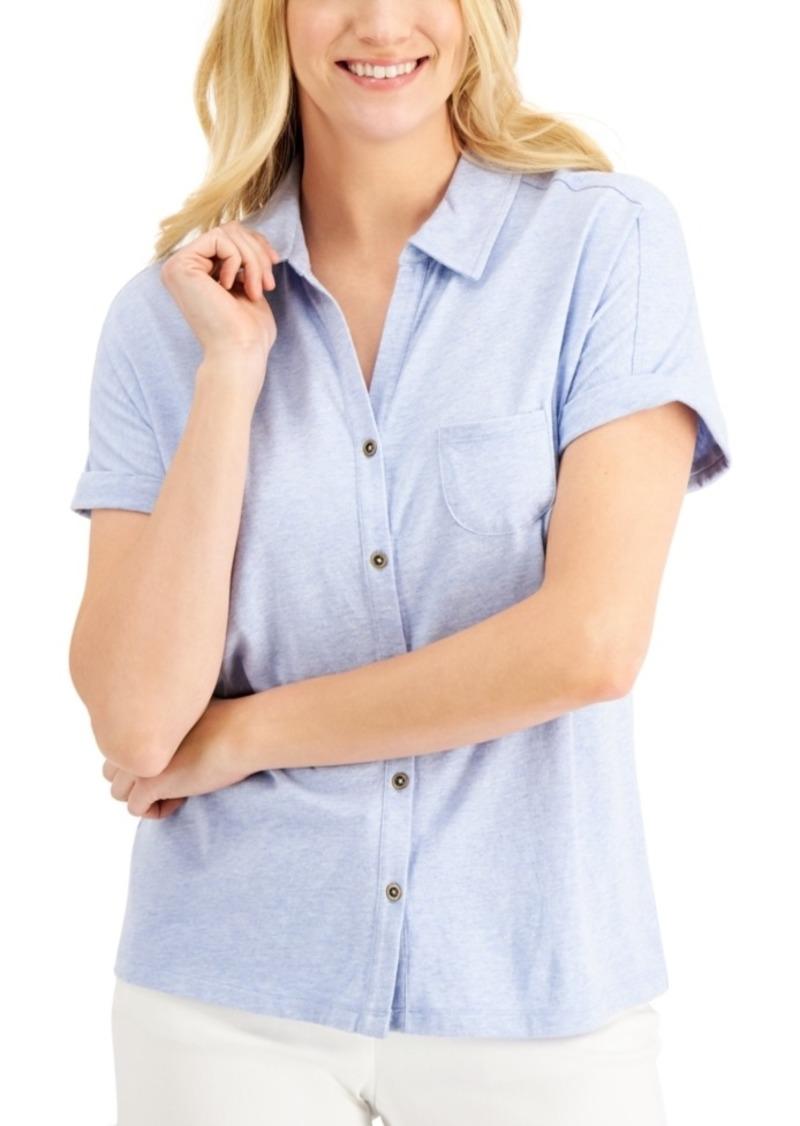 Karen Scott Short-Sleeve Button-Up Top, Created for Macy's