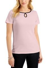 Karen Scott Short-Sleeve Keyhole Boat-Neck Top, Created for Macy's