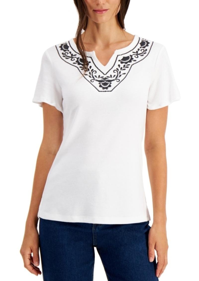 Karen Scott Split-Neck Top, Created for Macy's