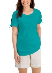 Karen Scott Split Tie-Sleeve Top, Created for Macy's