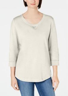 Karen Scott Sport Cotton Studded 3/4-Sleeve Sweatshirt, Created for Macy's