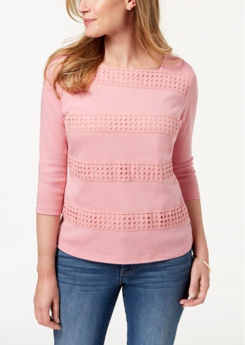 Karen Scott Square-Neck Lace-Stripe Top, Created for Macy's