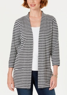 Karen Scott Striped 3/4-Sleeve Open-Front Jacket, Created for Macy's