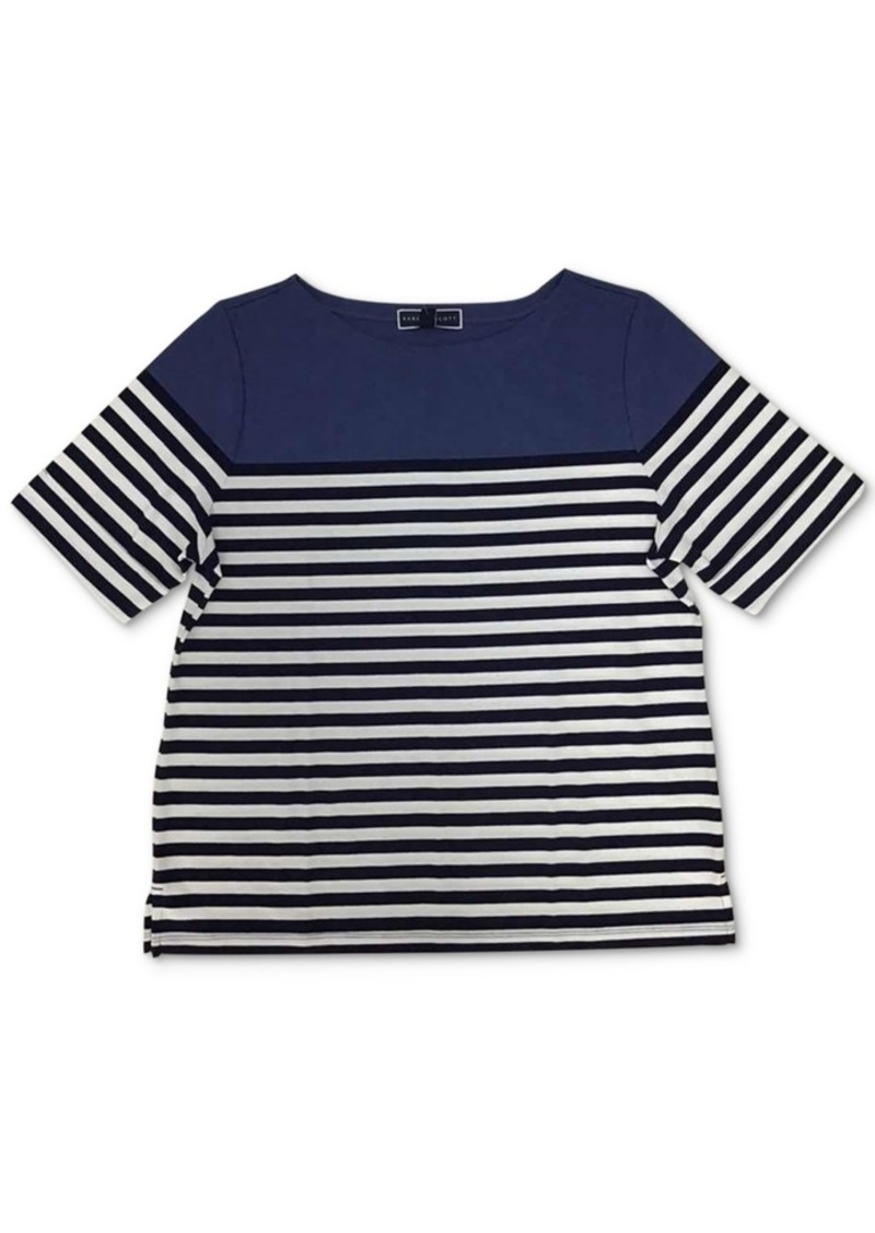 Karen Scott Striped Boatneck Top, Created for Macy's