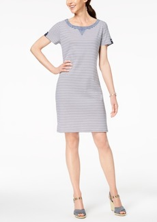 Karen Scott Striped Chambray-Trim Dress, Created for Macy's