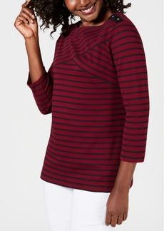 Karen Scott Striped Crossover Top, Created for Macy's