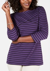 Karen Scott Petite Striped 3/4-Sleeve Top, Created for Macy's