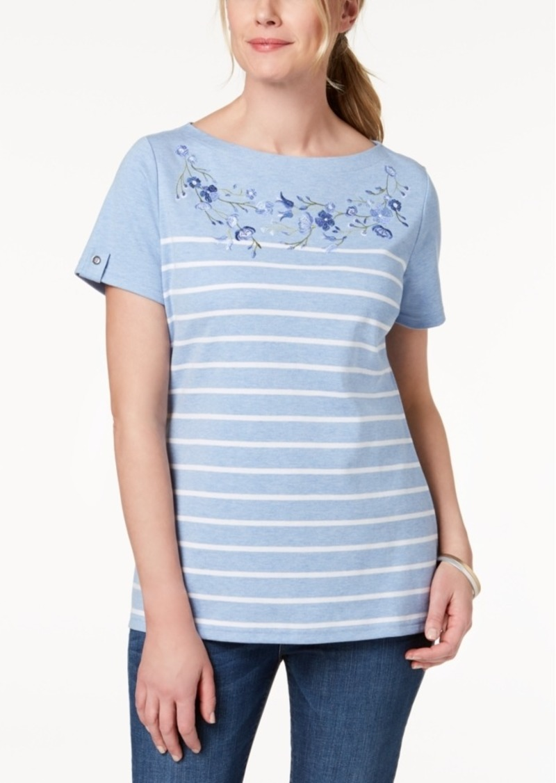 ef2d2e696cc8 Karen Scott Karen Scott Petite Embroidered T-Shirt, Created for ...