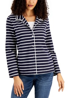 Karen Scott Striped French Terry Jacket, Created for Macy's