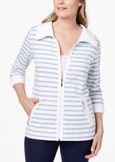 Karen Scott Striped French-Terry Jacket, Created for Macy's