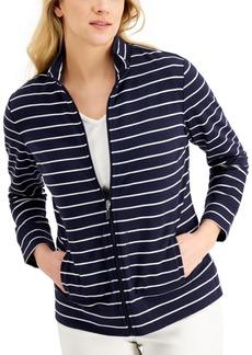 Karen Scott Striped Mock-Neck Jacket, Created for Macy's