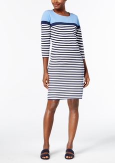 Karen Scott Striped Sheath Dress, Created for Macy's