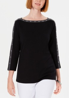 Karen Scott Stud-Trim 3/4-Sleeve Top, Created for Macy's