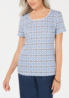 Karen Scott Summer Tile Scoop-Neck Top, Created for Macy's
