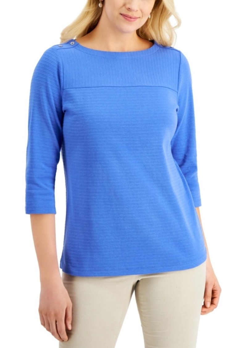 Karen Scott Textured Button-Shoulder Top, Created for Macy's