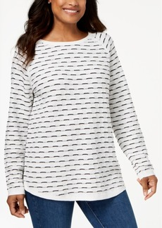 Karen Scott Textured Cotton Sweater, Created for Macy's