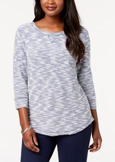 Karen Scott Textured Sweatshirt Top, Created for Macy's