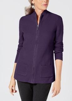 Karen Scott Textured Zip-Front Cardigan, Created for Macy's
